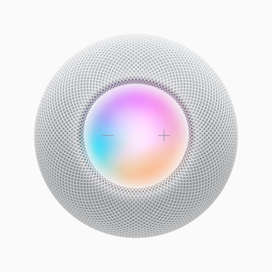 Apple HomePod mini (2020) white top view siri activated