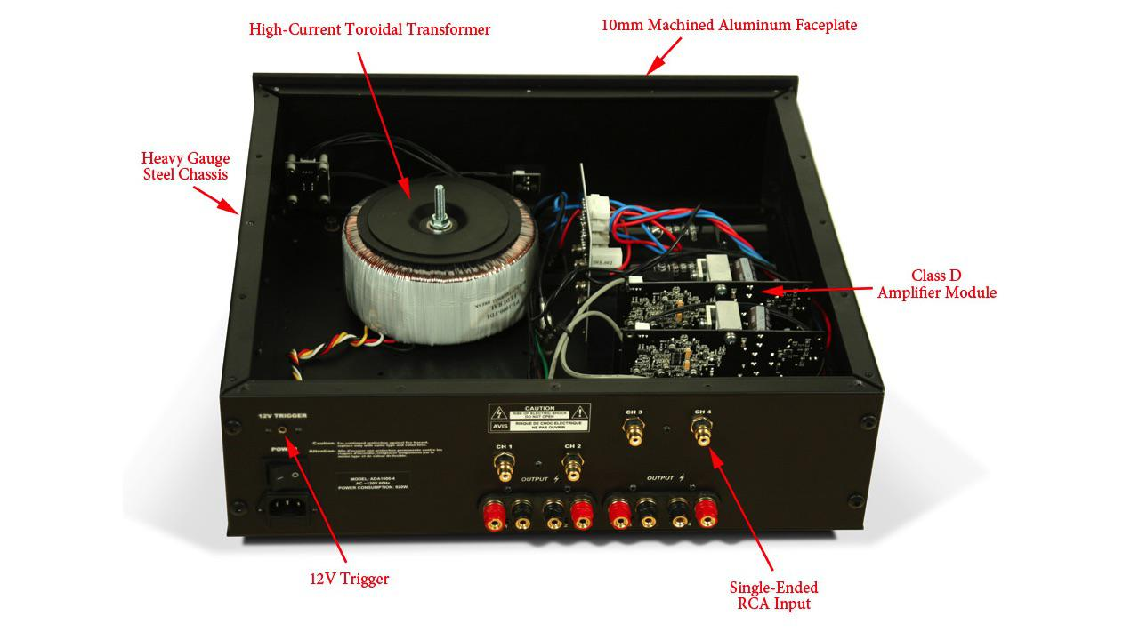 Axiom Audio ADA1000 Power Amplifier top open showing components inside