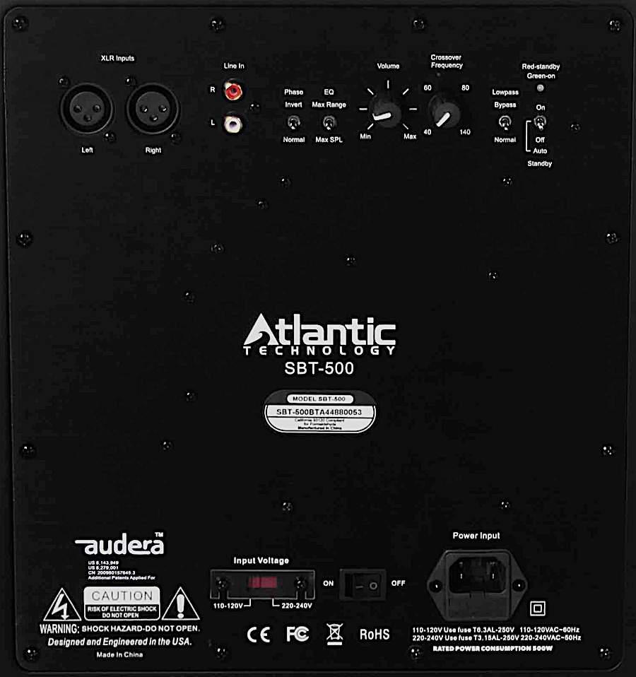 Atlantic Technology SBT-500 Subwoofer Rear Panel