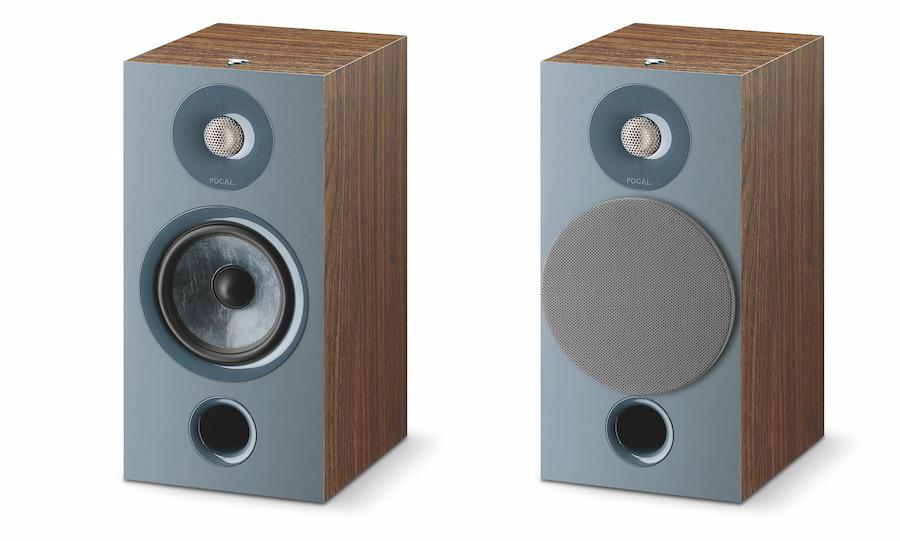 Focal Chora 806 Bookshelf Speakers in darkwood finish with and without grilles