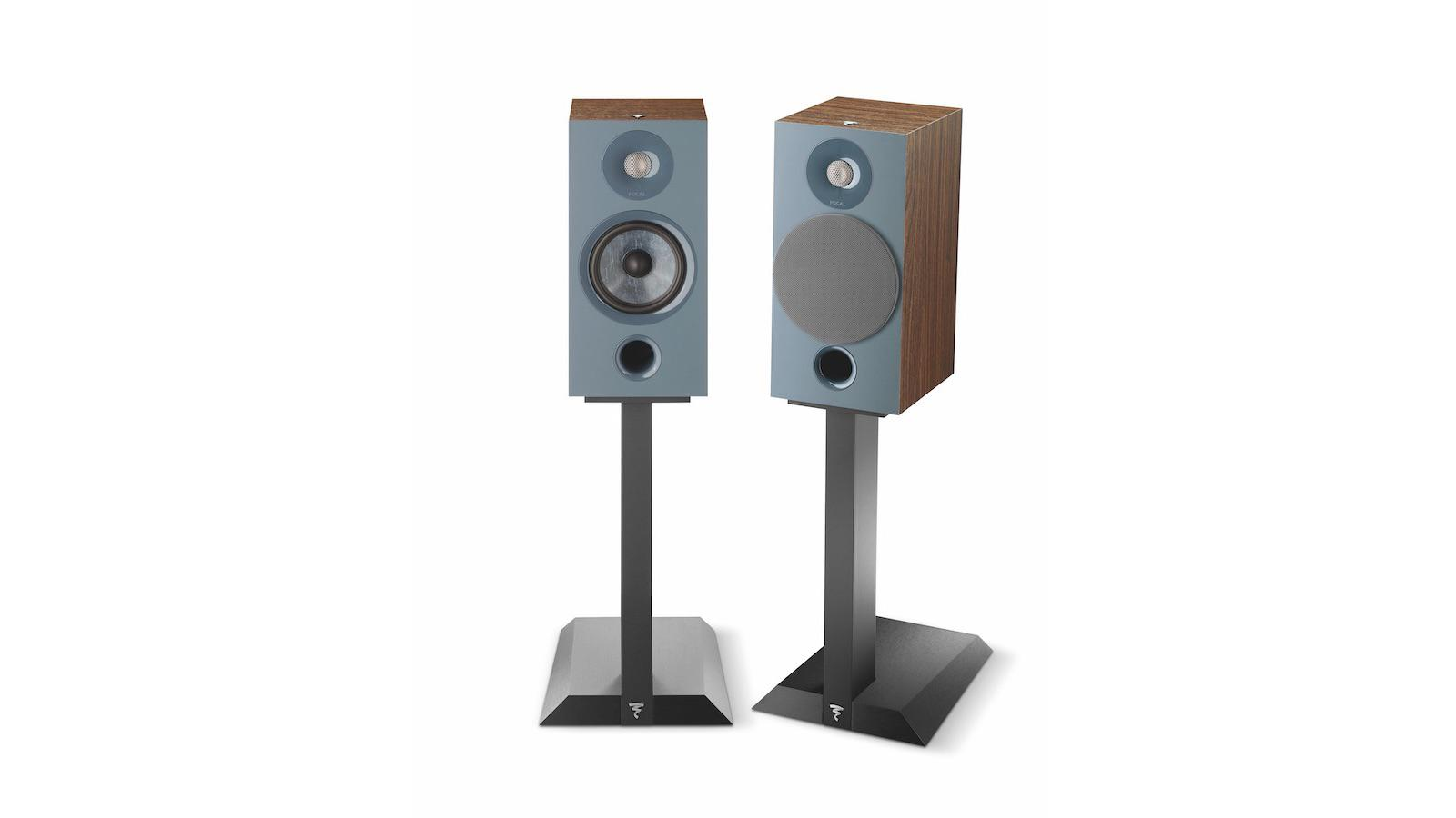 Focal Chora 806 Bookshelf Speakers on stands in darkwood finish