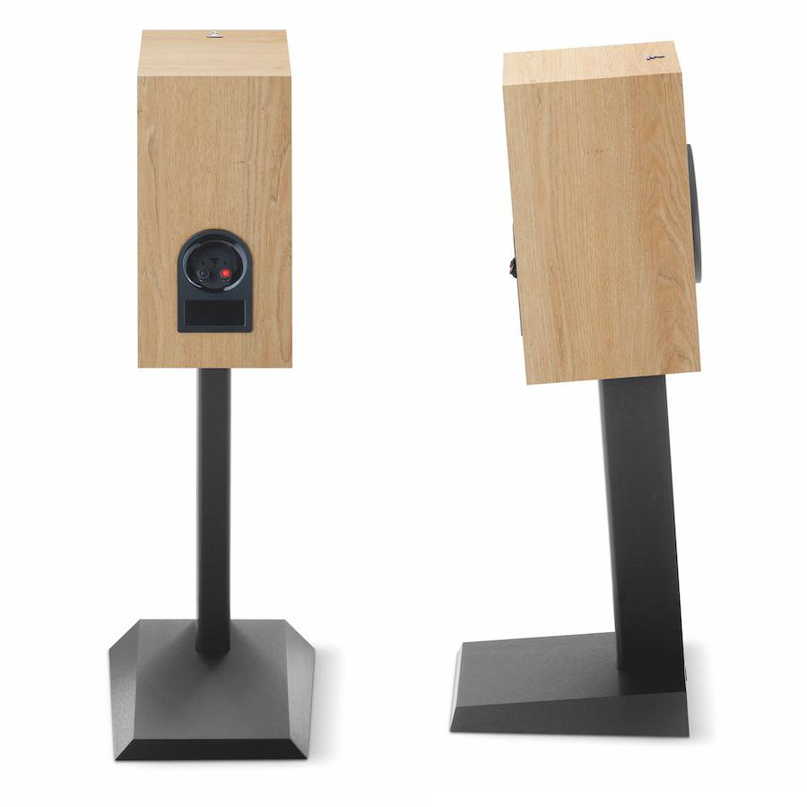 Focal Chora 806 Bookshelf Speakers in lightwood finish profile and rear views