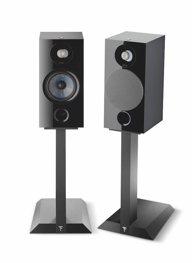 Focal Chora 806 Bookshelf Speakers on stands in black finish