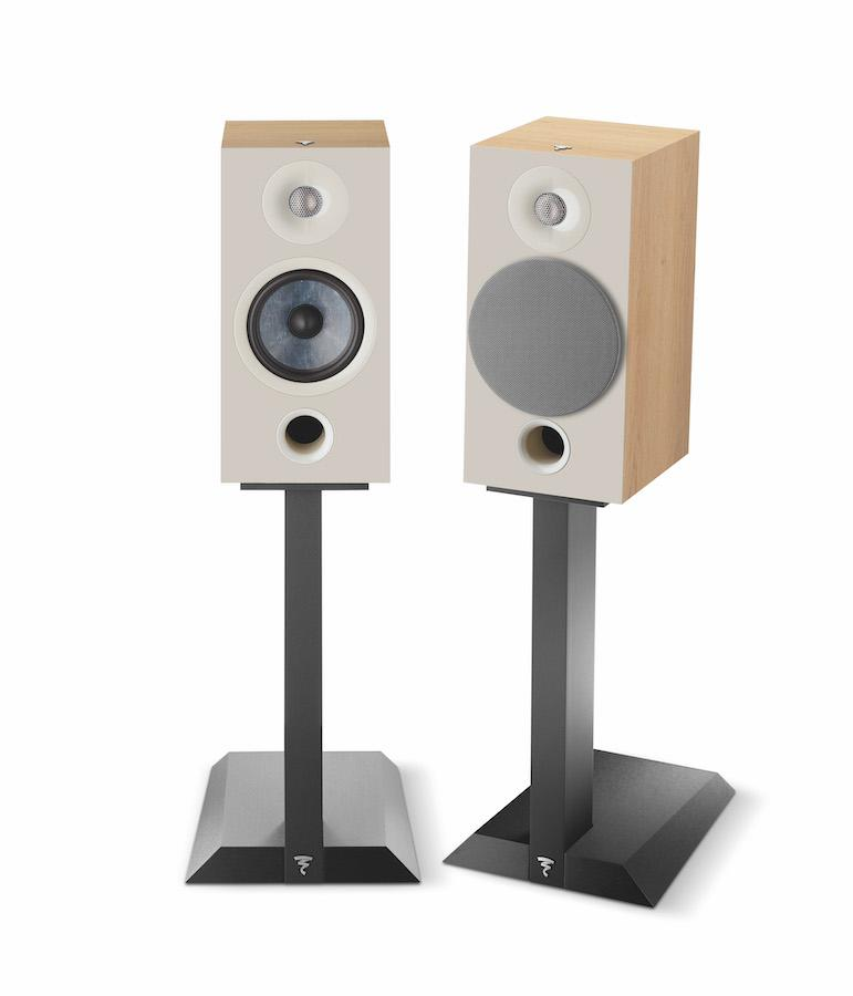 Focal Chora 806 Bookshelf Speakers on stands in lightwood finish