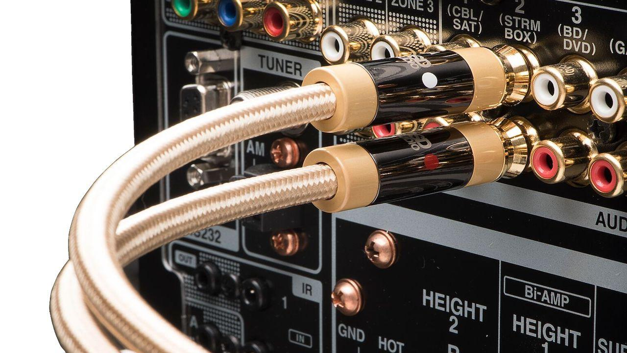 OSD Audio Aurum AU-RCAST RCA Stereo Cable Plugged into A/V Receiver