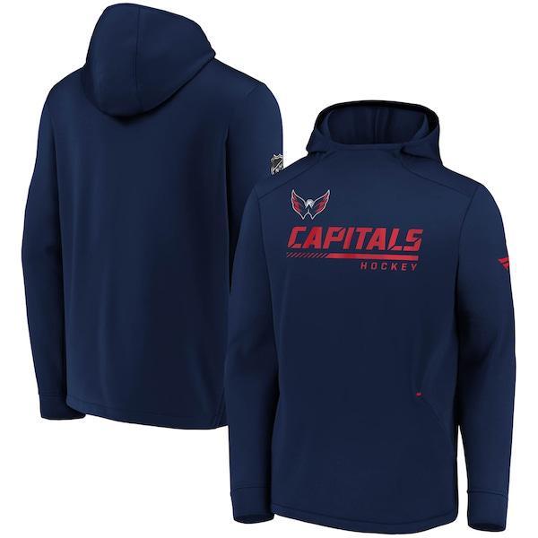 Men's Washington Capitals Fanatics Branded Navy Authentic Pro Locker Room Pullover Hoodie