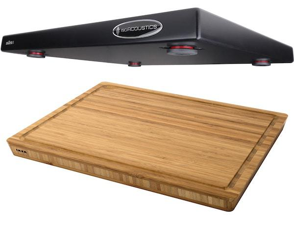 IsoAcoustics Zazen Isolation Platform and IKEA APTITLIG Bamboo Butcher Block