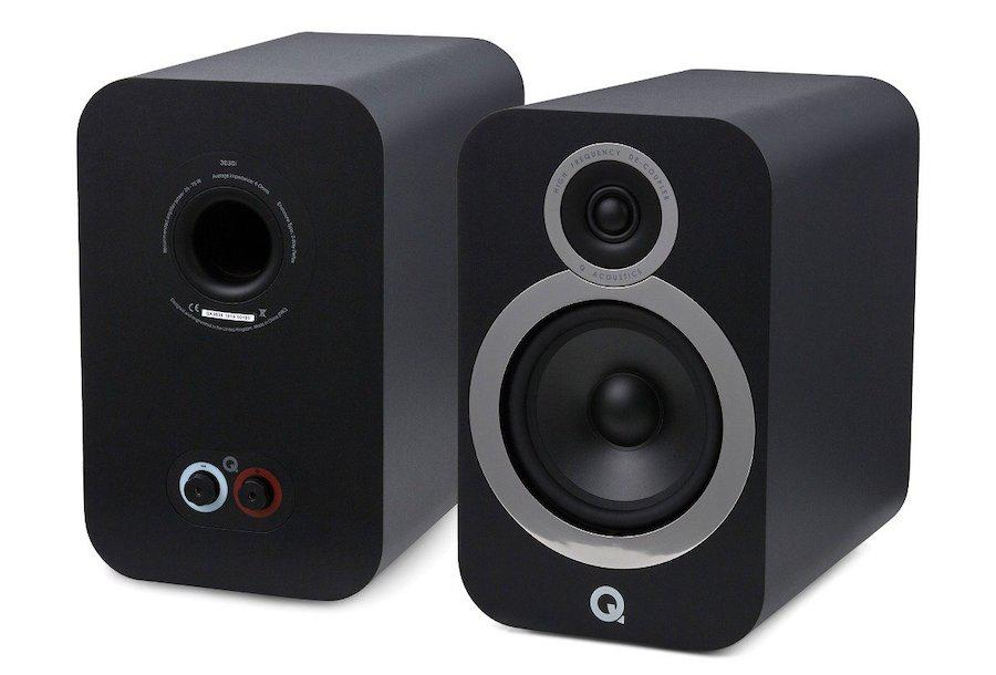 Pair of Q Acoustics 3030i Bookshelf Speakers in Black showing front and back