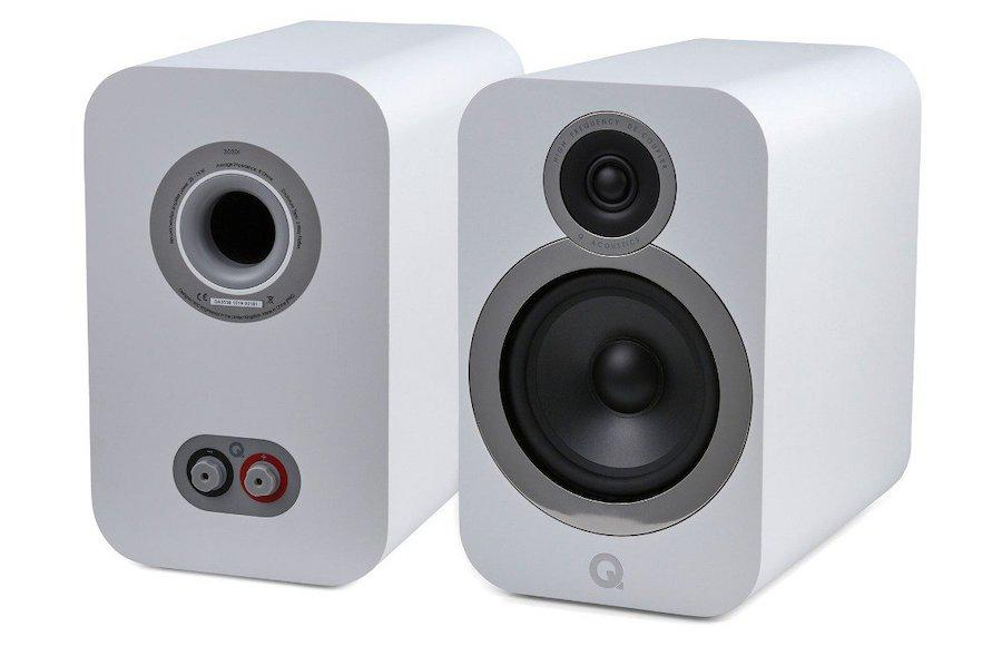 Pair of Q Acoustics 3030i Bookshelf Speakers in White showing front and back