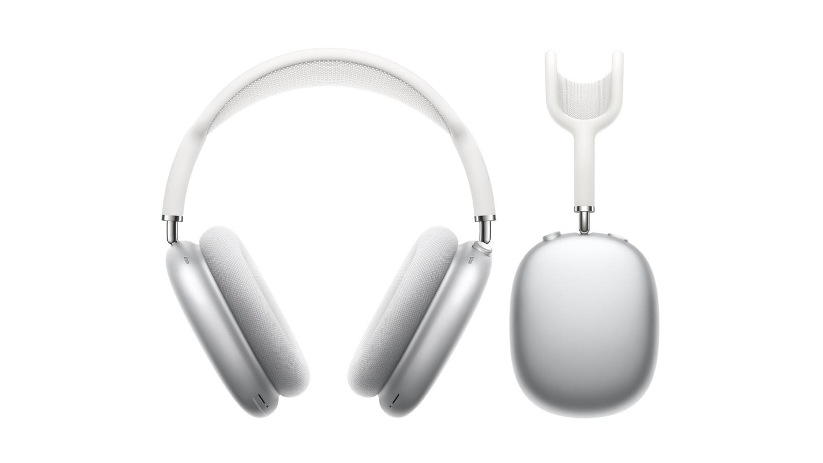 Apple AirPods Max Over-ear Headphones in silver front and side views