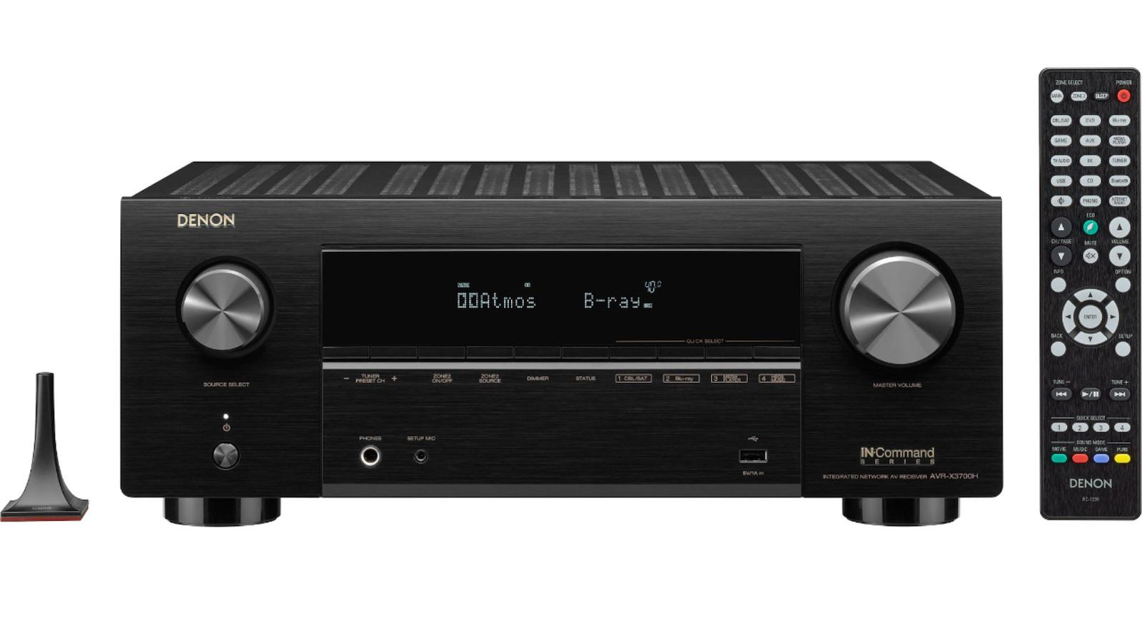 Denon AVR-X3700H 8K A/V Receiver front view with mic and remote