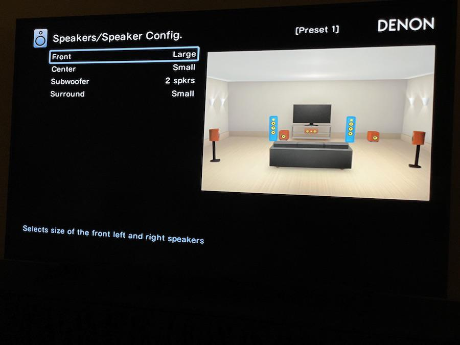 Denon AVR-X3700H A/V Receiver On-screen Menu Speaker Sizes