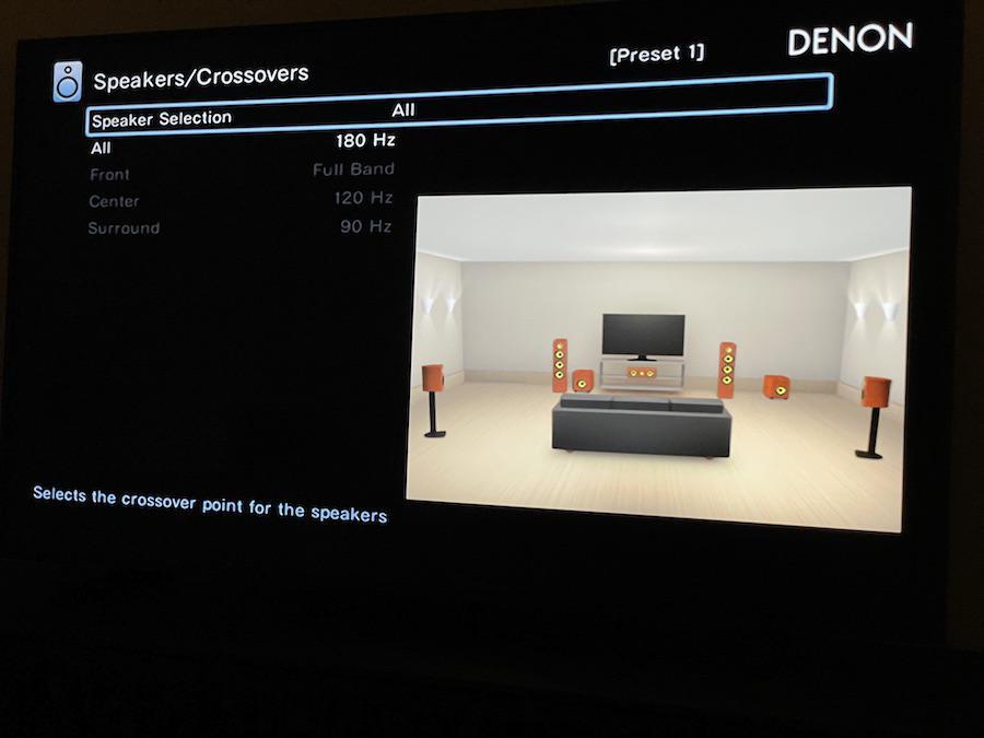 Denon AVR-X3700H A/V Receiver On-screen Menu Speaker Crossover