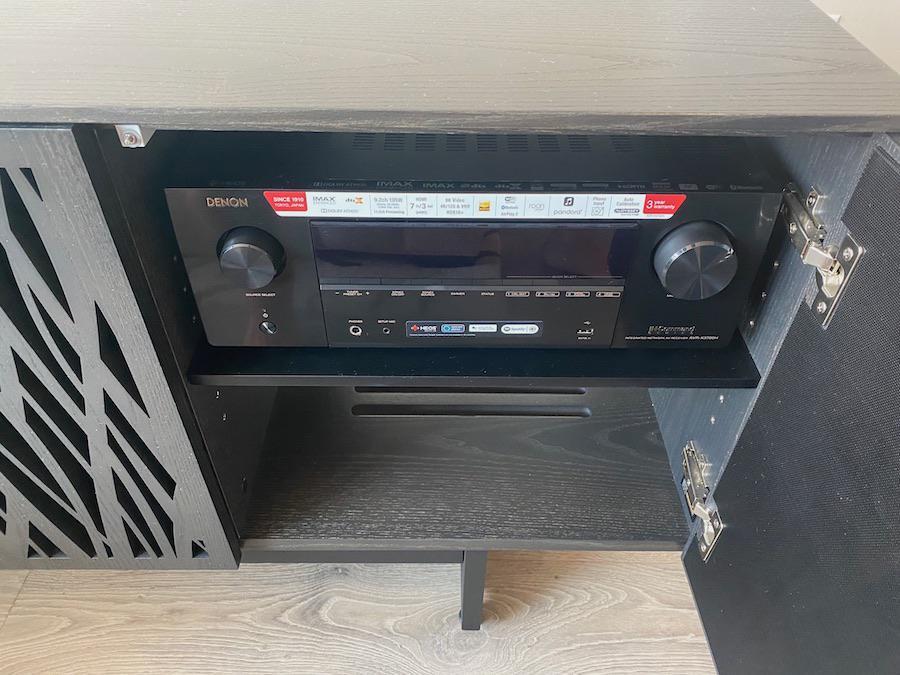 Denon AVR-X3700H A/V Receiver inside BDI 8779 Media Console