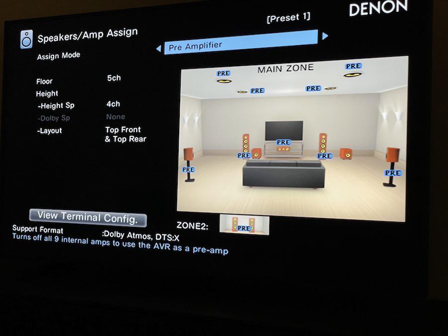 Denon AVR-X3700H A/V Receiver On-screen Menu Preamplifier Mode