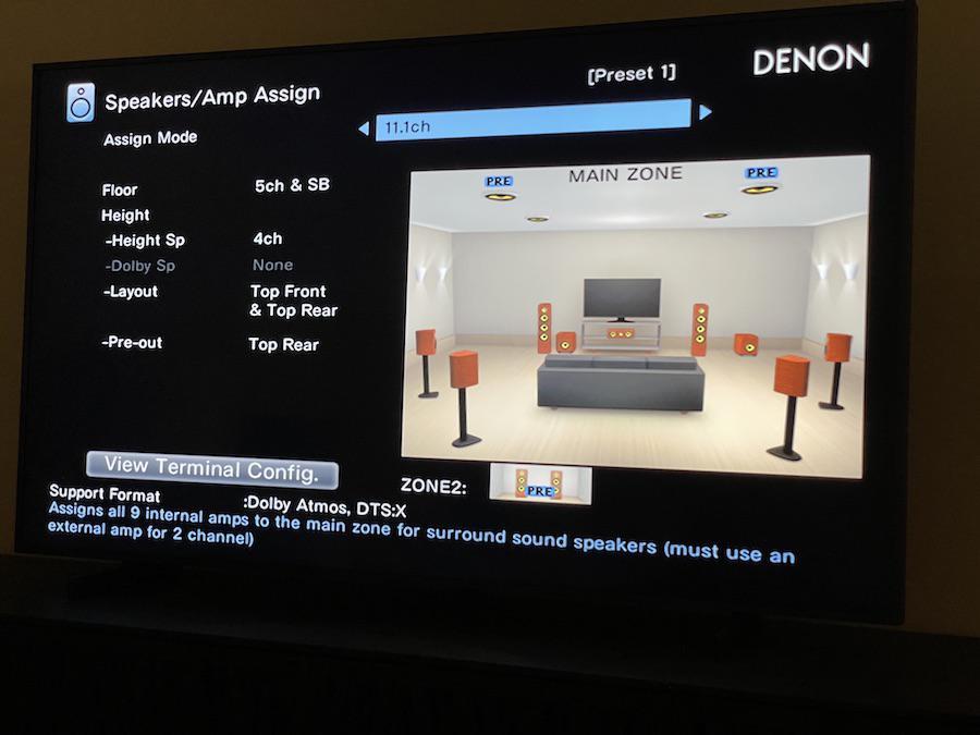 Denon AVR-X3700H A/V Receiver On-screen Menu 11.2-channel Amplifier Assign