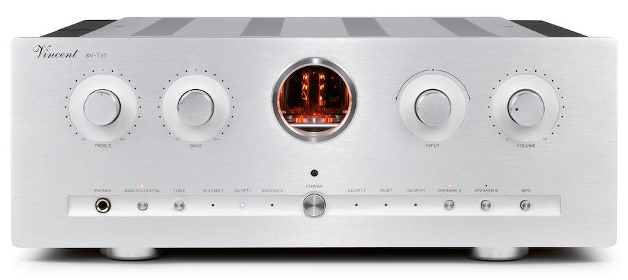 Vincent Audio Debuts SV-737 Hybrid Integrated Amplifier Front View in Silver