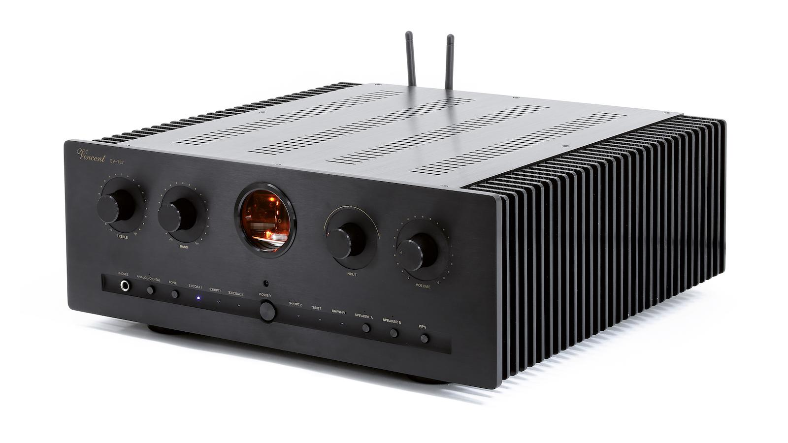 Vincent Audio Debuts SV-737 Hybrid Integrated Amplifier Angle View in Black