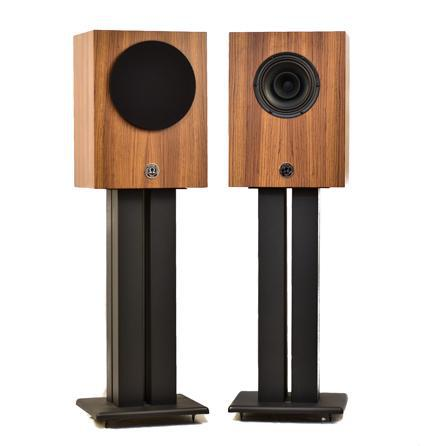 Omega Speakers Compact Alnico Monitors on stands in zebrawood finish