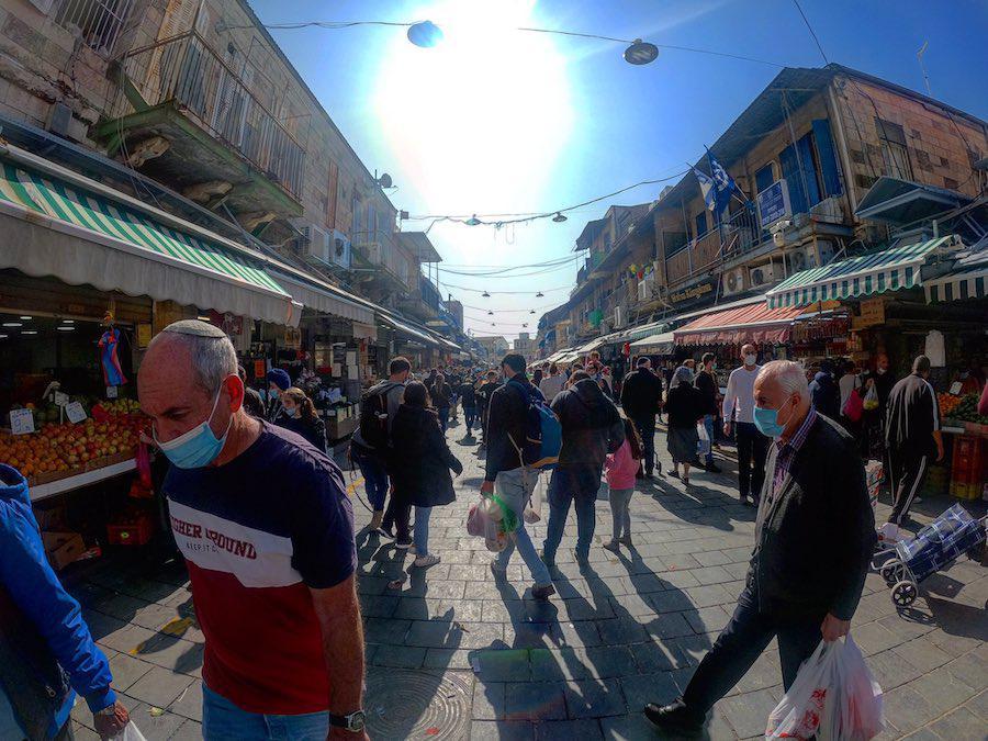 Crowded Mahane Yehuda Market, Jerusalem