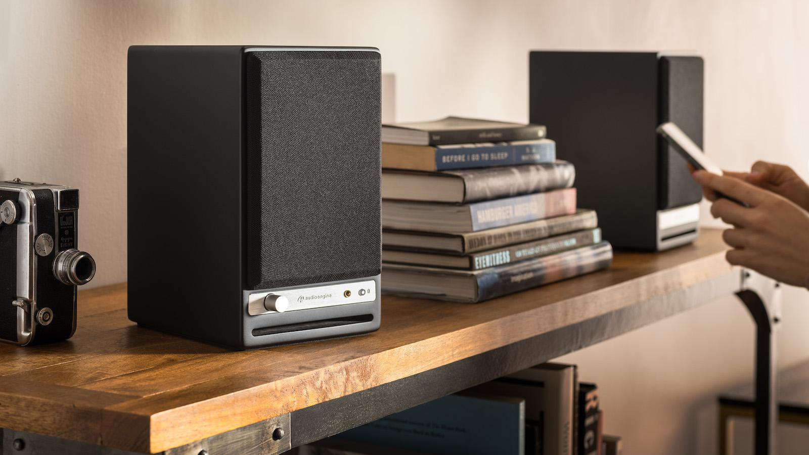 Audioengine HD4 Wireless Speakers on a shelf