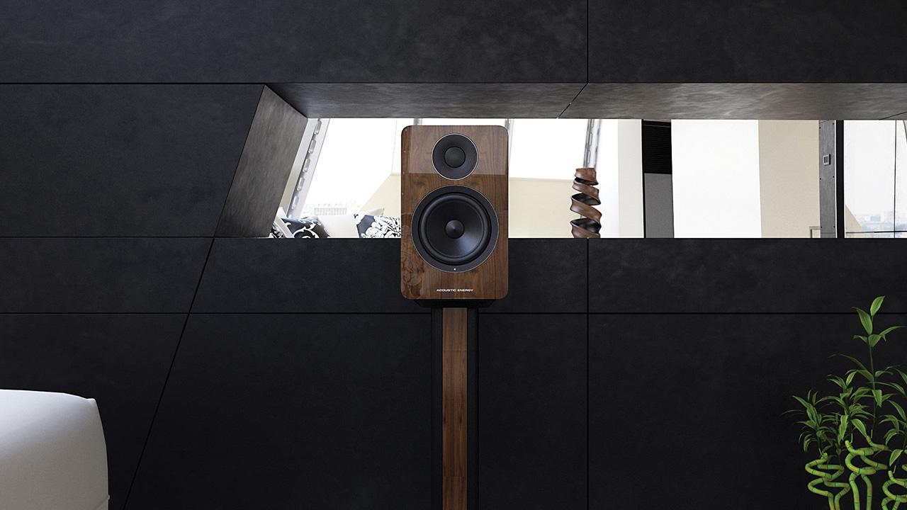 Acoustic Energy AE1 Active Speaker on stand in walnut