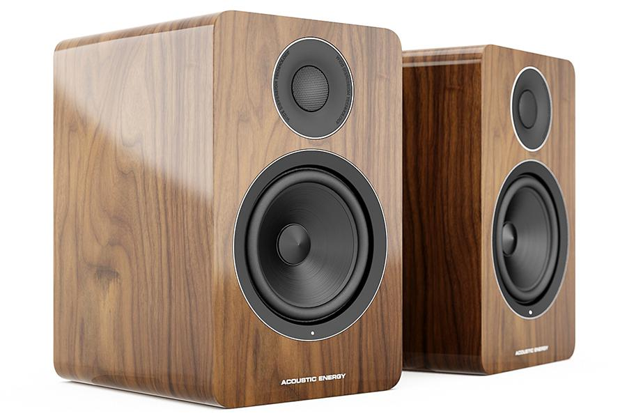 Acoustic Energy AE1 Active Speakers in walnut no grille