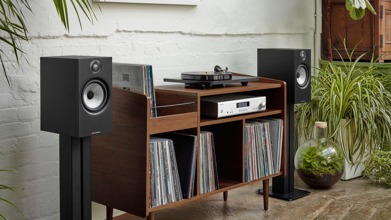 Bowers & Wilkins 606 S2 Anniversary Edition Matte Black with Record Cabinet and Rotel A14