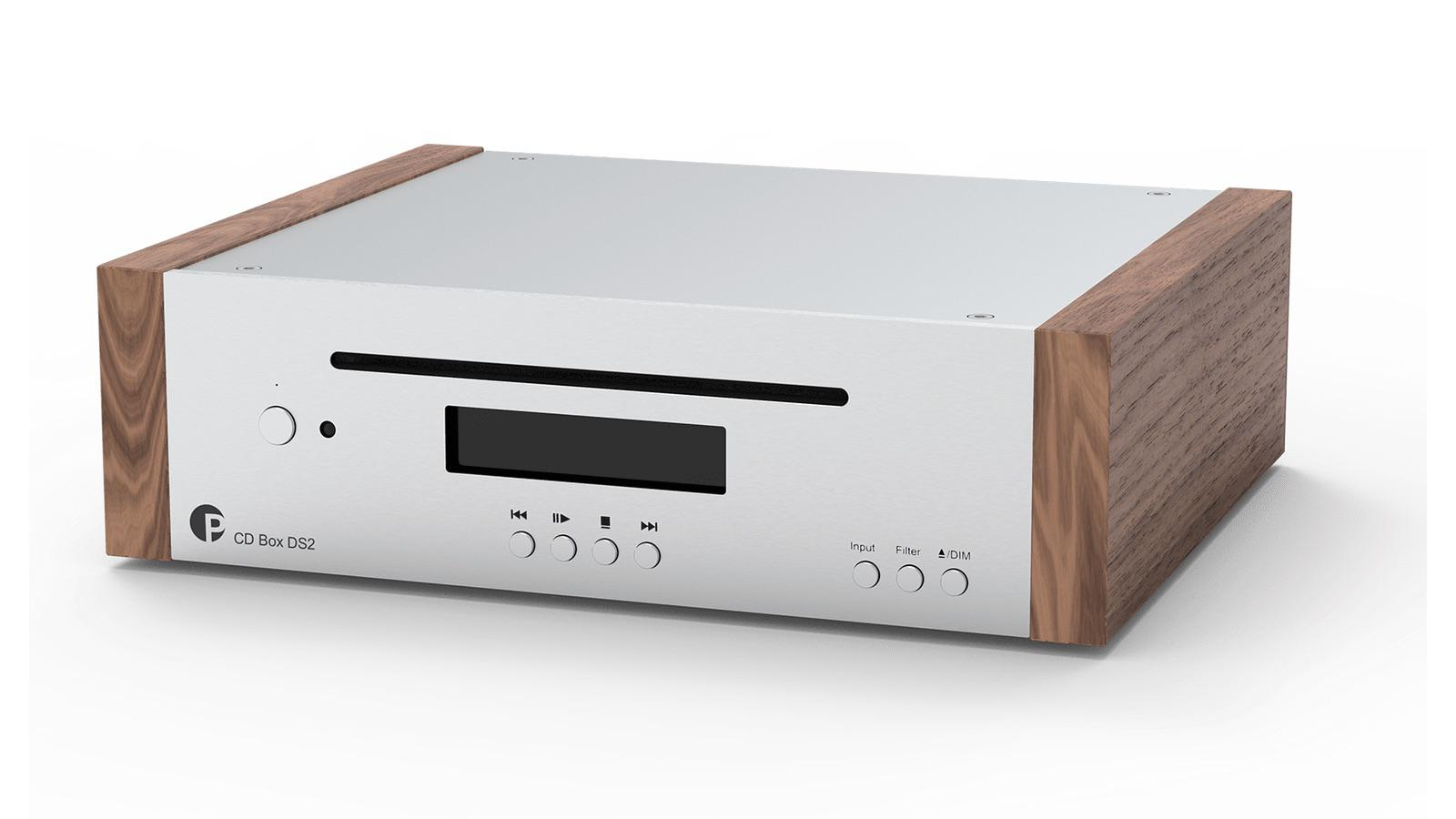 Pro-ject CD Box DS2 CD Player in silver and wood front angle