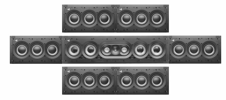 Focal 1000 Series IWLCR and IWSUB 1000 Utopia in-wall speakers and subwoofer front