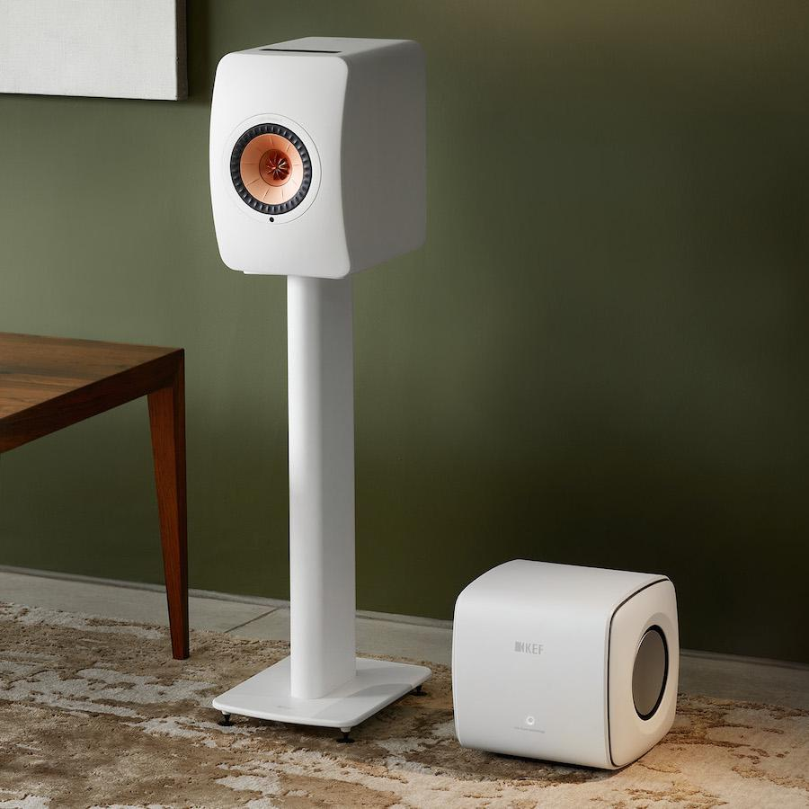 KEF KC62 Subwoofer with LS50 Wireless II Stand-mount Speakers in Mineral White