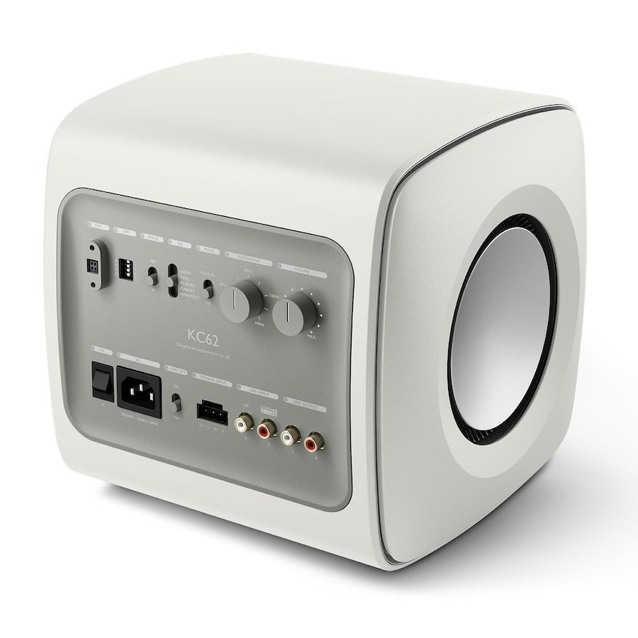 KEF KC62 Subwoofer in Mineral White Rear Angle
