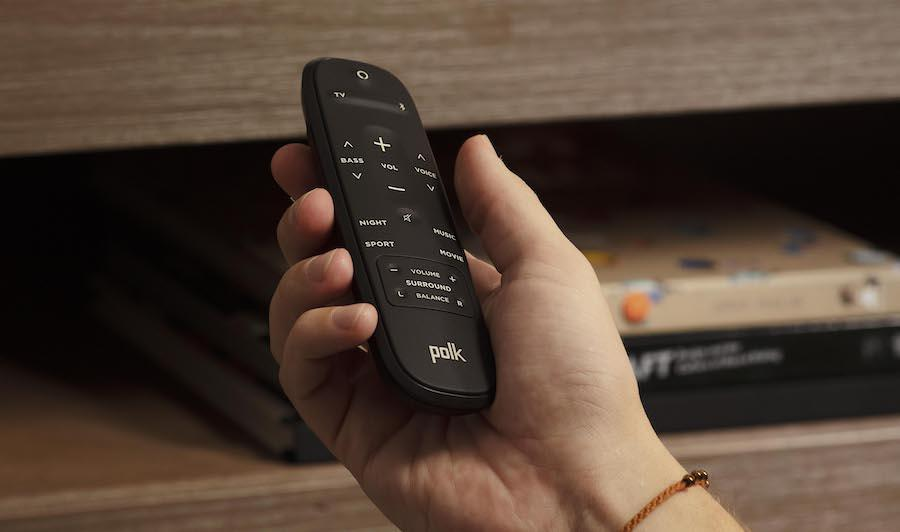 Polk Audio React Sound Bar Remote Control in hand