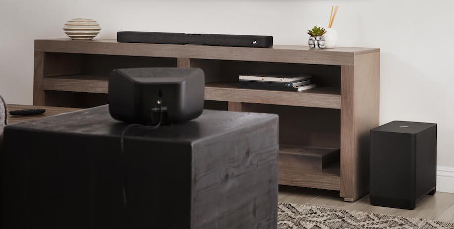 Polk Audio React Sound Bar with SR2 Wireless Surround Speakers and React Sub Lifestyle