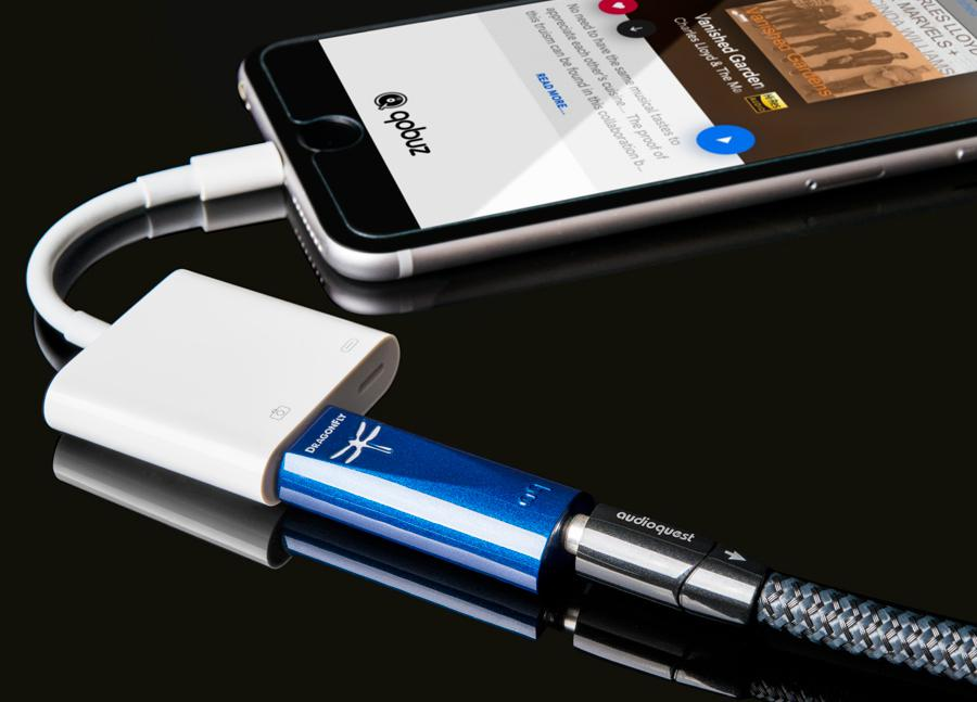 Audioquest Dragonfly Cobalt USB DAC connected to iPhone