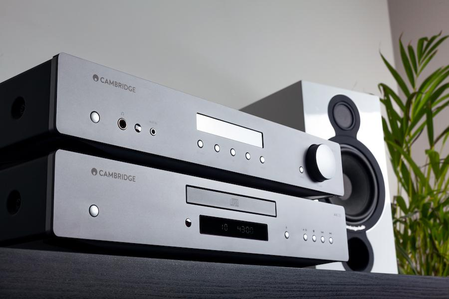 Cambridge Audio AXA35 Integrated Amplifier and AXC35 CD Player Combo Stacked Closeup