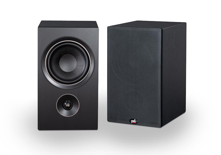 PSB P5 Alpha Bookshelf Loudspeakers with/without grille in black