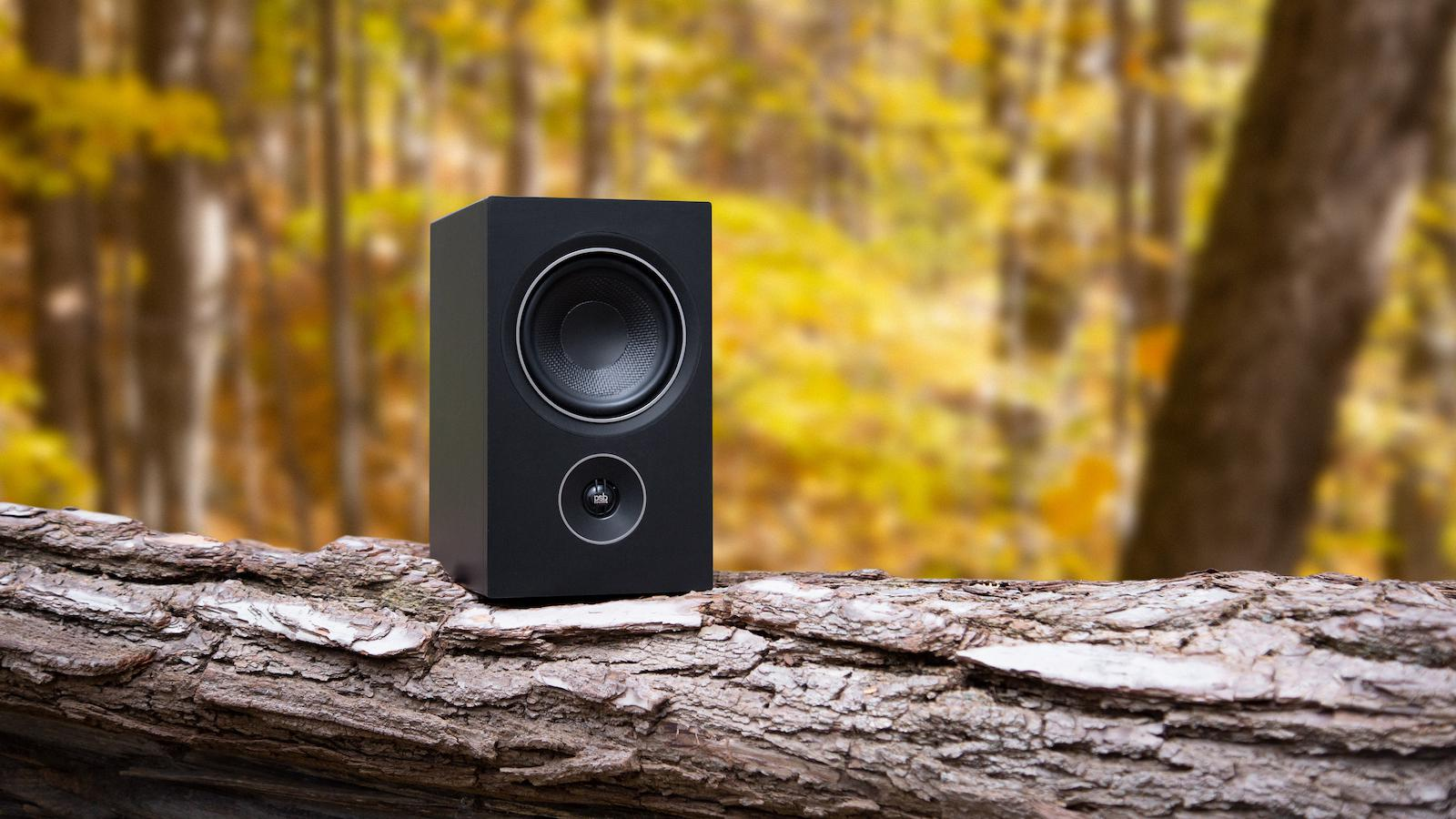 PSB P5 Alpha Bookshelf Loudspeaker outside on log