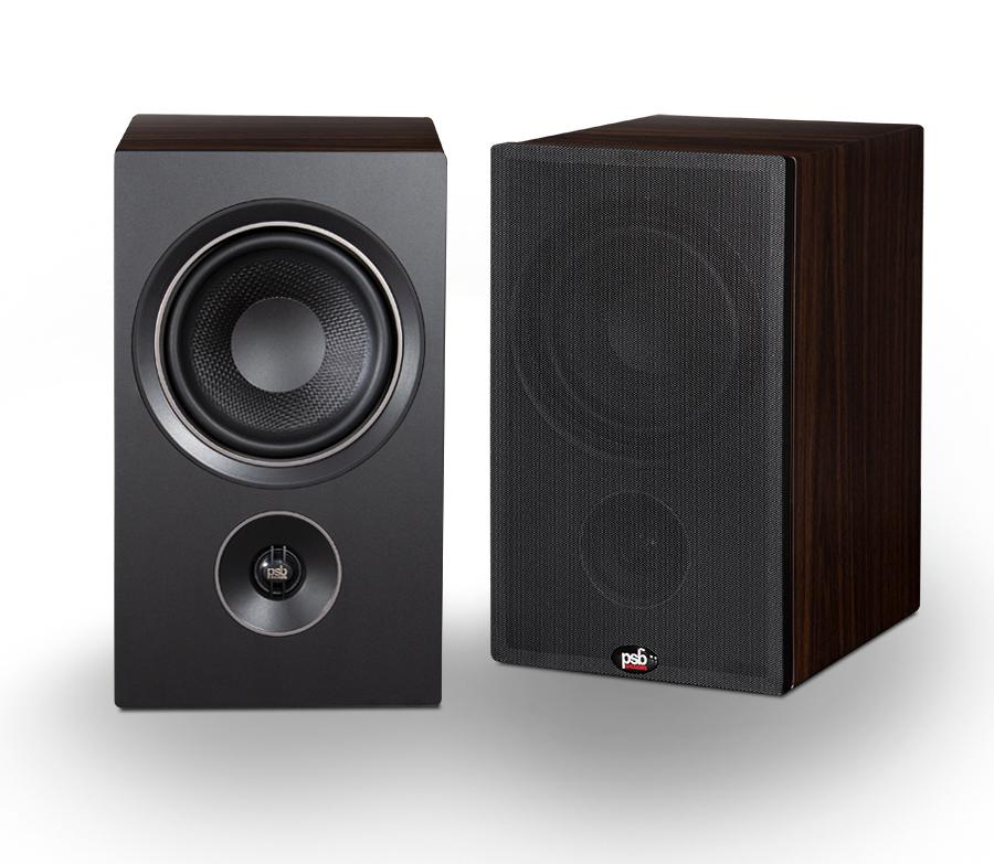 PSB P5 Alpha Bookshelf Loudspeakers with/without grille in walnut