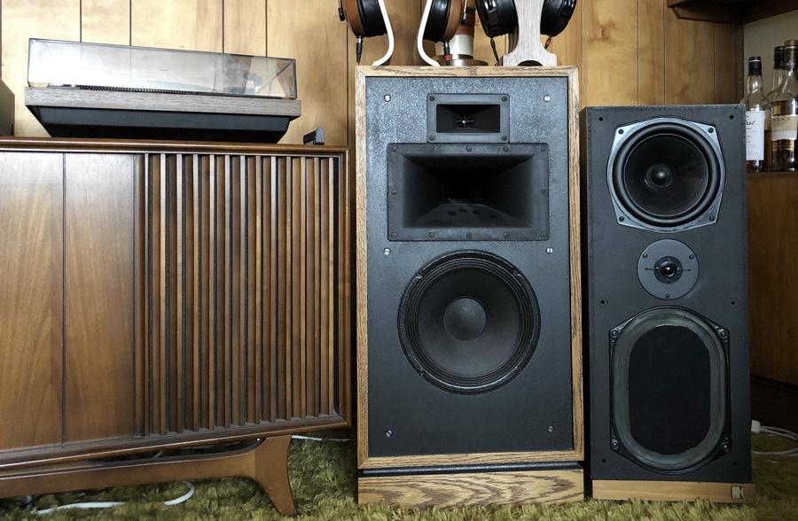 Early days in vintage audio, with Klipsch Quartets and KEF Calindas, seen here with Dual 604.