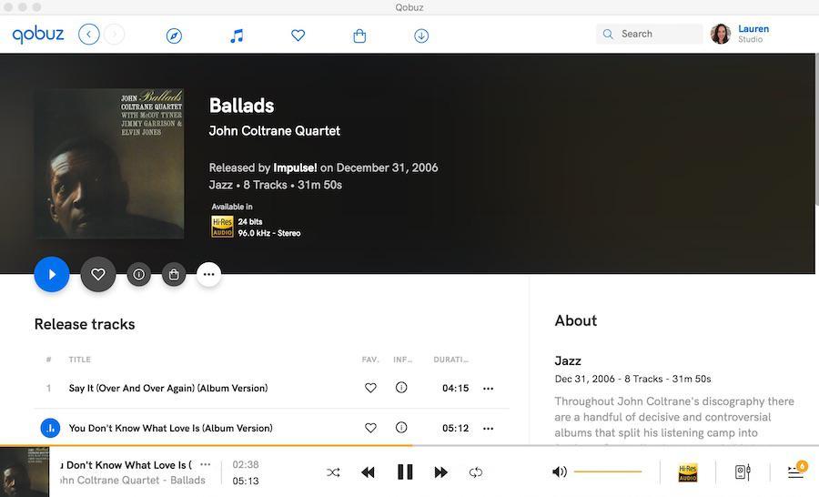 Qobuz Ballads Coltrane Screenshot