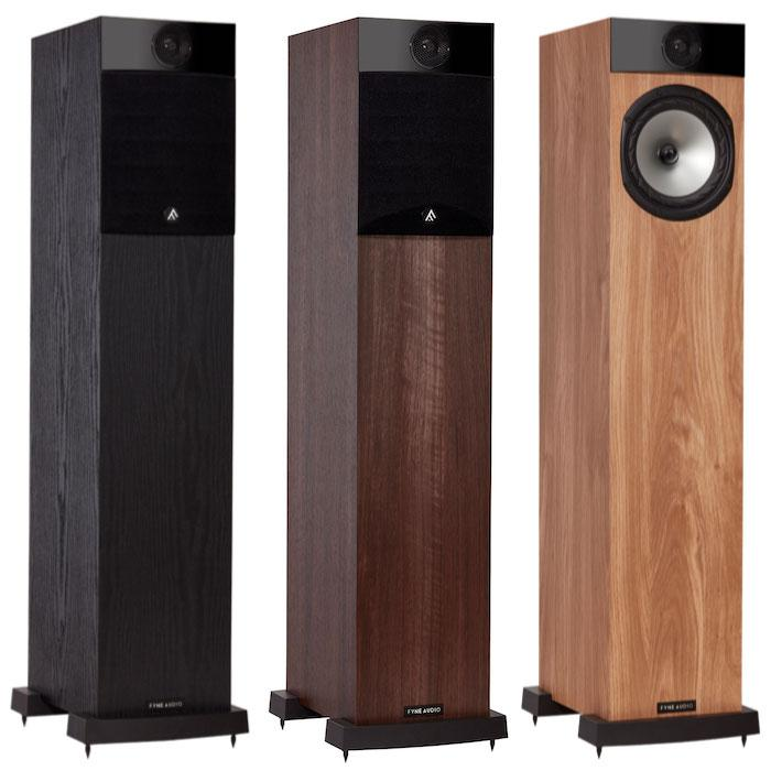 Fyne Audio F302 Loudspeaker Finishes Front Angle with and without grille