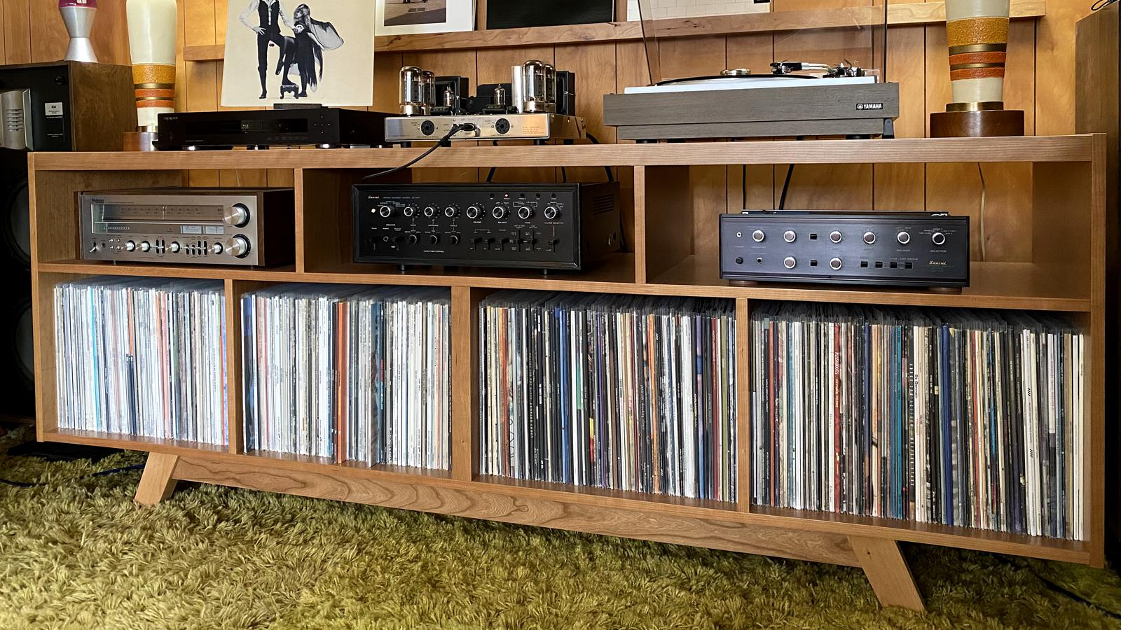 Stereo system with new shelving courtesy Audio Acoustic Engineering to house a growing vinyl collection