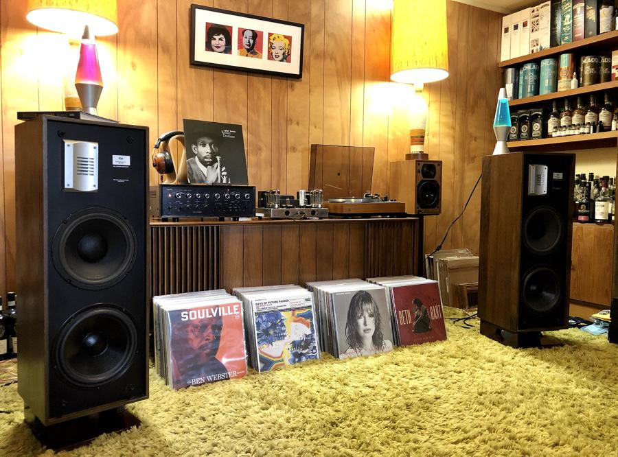 Stereo system at early lockdown 2020-03-28: 4 stacks about 1-foot deep each. System of the day a Dual 701 turntable, Sansui AU-999 integrated amp, Dynaco ST-70 tube amp and ESS PS4A speakers.