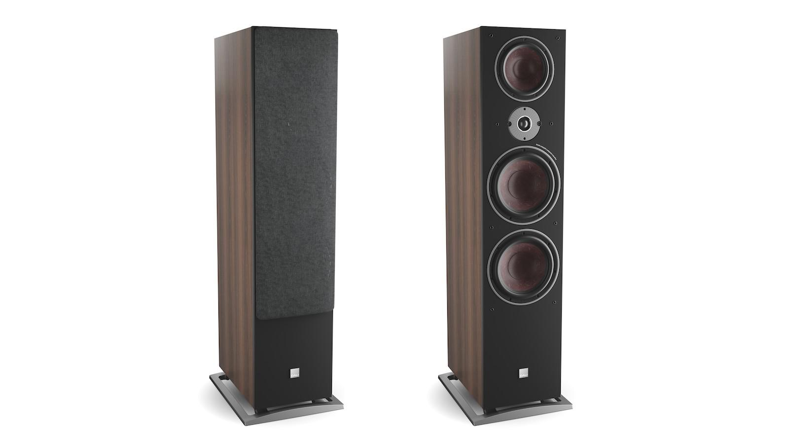 DALI OBERON 9 Tower Loudspeakers in walnut with and without grille