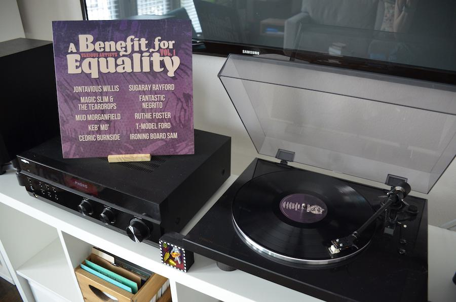 Benefit for Equality Album next to record player