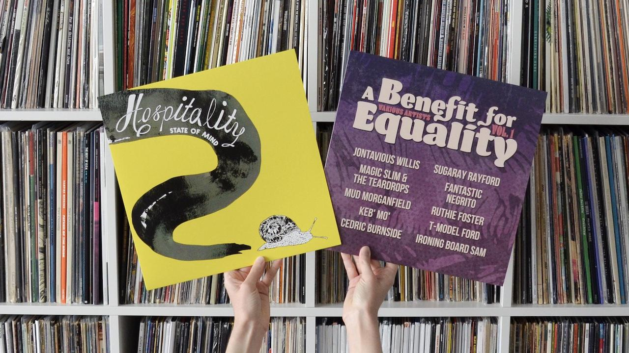 Record Albums: Hospitality State of Mind and Benefit for Equality in hands