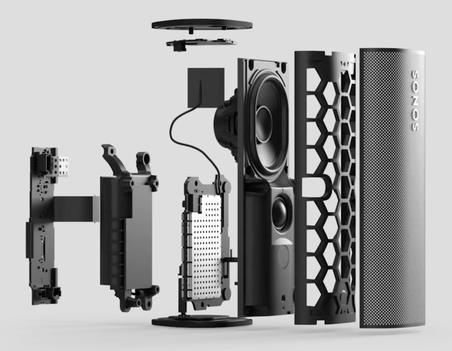 Sonos Roam Portable Wireless Speaker Exploded