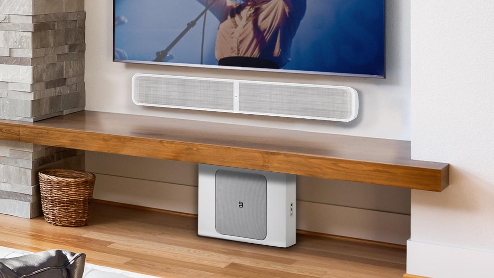 Bluesound Pulse Soundbar+ and Sub+ in White