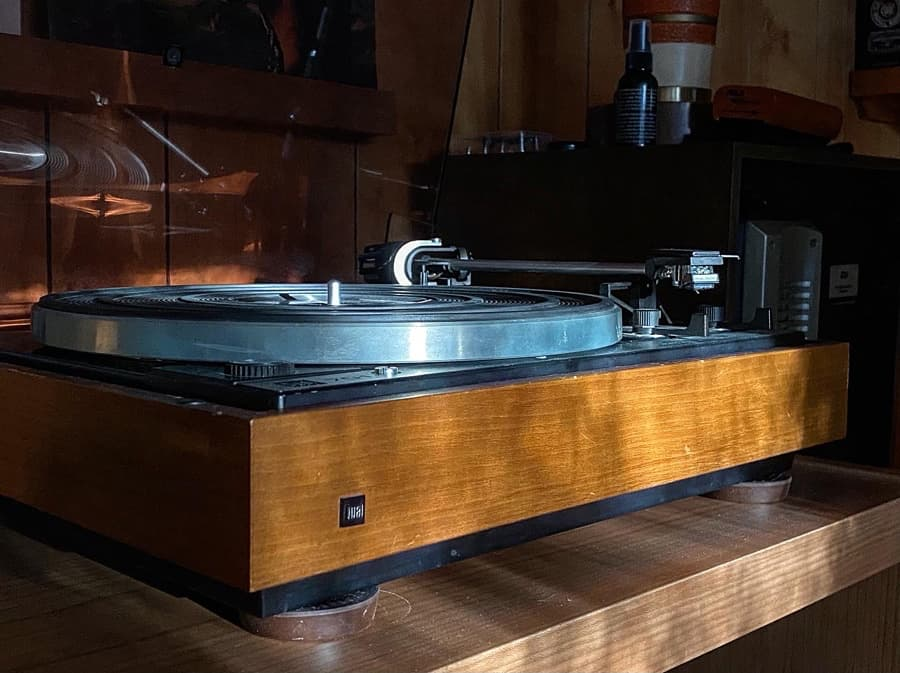 Dual 701 vintage turntable in the sunlight